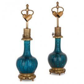Two ormolu and blue faience lamps, attributed to Théodore Deck