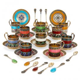 A 30-piece enamel and silver-gilt demitasse set by 11th Artel