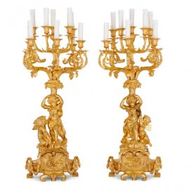 Pair of large ormolu figural candelabra