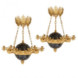 Pair of French Empire style ormolu chandeliers