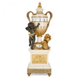 Louis XVI style ormolu and marble cercle tournant mantel clock