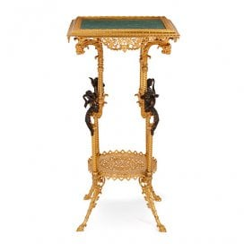 Antique French Belle Epoque malachite and ormolu side table
