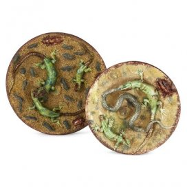 Two Portuguese majolica Palissy ware plates by Manuel Mafra