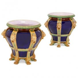 Pair of antique Victorian ceramic jardinieres by Minton