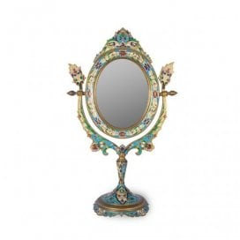 Cloisonne and gilt metal antique French toilette mirror