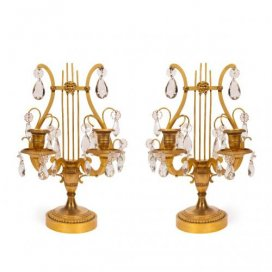 Pair of ormolu and crystal antique lyre shaped candelabra