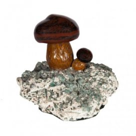 Antique Russian jasper model of two miniature mushrooms