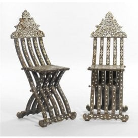 Pair of mother-of-pearl and bone Turkish folding chairs