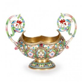 Two-handled cloisonné enamel antique Russian bowl