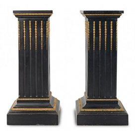 Pair of ormolu and ebonised wood antique French pedestals