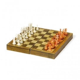 An ivory and wood antique chess set