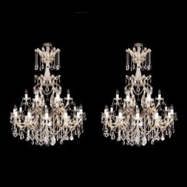 Pair of ormolu and cut glass Belle Époque style chandeliers