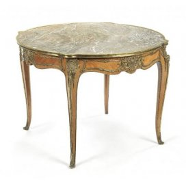 Ormolu mounted rosewood antique centre table with marble top