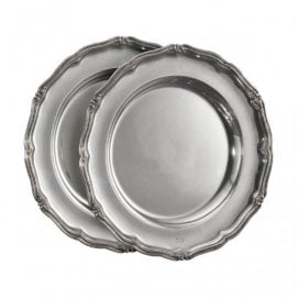 Two round silver Russian antique plates by Adolf Shper