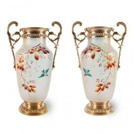 Pair of enamelled frosted glass and gilt brass vases by WMF