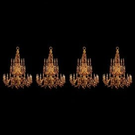 Set of four French gilt bronze chandeliers