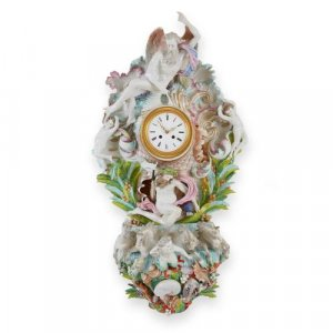 Meissen style porcelain antique mythological cartel clock