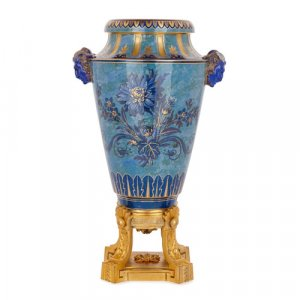 Antique Sèvres ormolu mounted porcelain vase