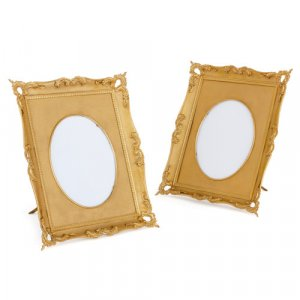 Pair of Rococo style ormolu photo frames