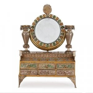 Arabesque style enamelled silver marriage box for dressing table