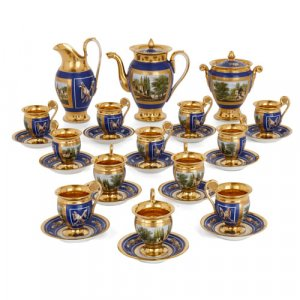 Empire period painted and gilt porcelain coffee service