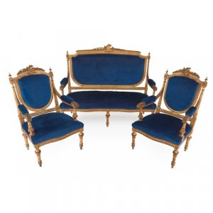 Louis XVI style blue upholstered giltwood furniture suite