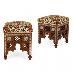 Pair of Syrian Moorish mother of pearl inlaid stools