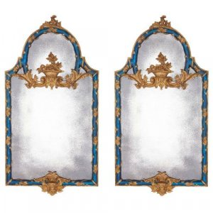 Pair of carved giltwood and blue painted Italian mirrors