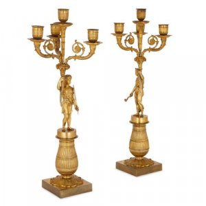 Pair of antique Empire period ormolu candelabra