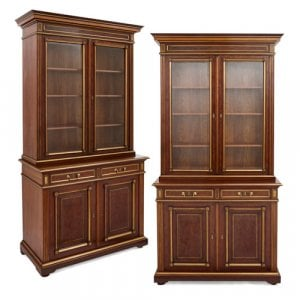 Pair of large Russian Neoclassical style mahogany bookcases