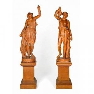 Pair of terracotta sculptures emblematic of Hunting and Fishing