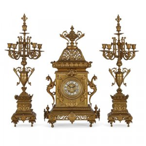 Régence style ormolu three-piece clock set