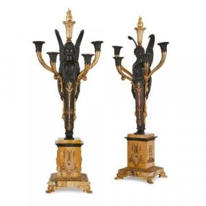 Pair of Empire style bronze and marble antique candelabra