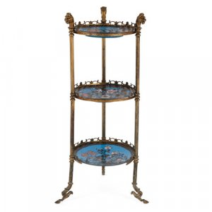 Empire style gilt metal and cloisonné enamel étagère
