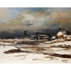 Winter Landscape antique oil painting by Albert Saverys