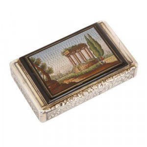 Antique micromosaic plaque set on a chased silver snuff box