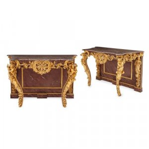 Pair of Louis XV style antique giltwood console tables