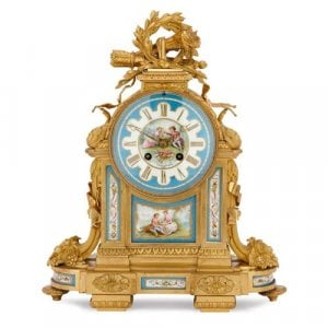 Neoclassical style ormolu and Sevres style porcelain mantel clock