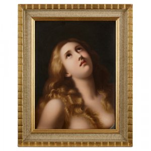 Painted KPM porcelain plaque portraying Mary Magdalene