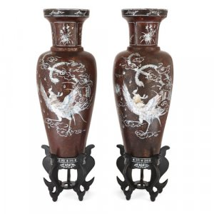 Pair of Chinese mother of pearl inlaid papier-mâché vases