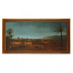 Antique Orientalist oil painting of the walled city of Fez