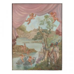 Large Italian oil painting of bathing nymphs by Fabbretto