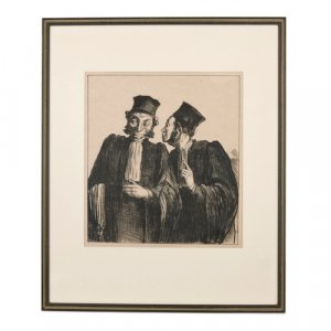 Lithograph of two lawyers from 'Parisian sketches' by Daumier