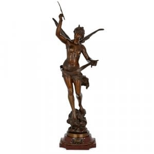 'Standing Angel', patinated bronze figure by Ferrand