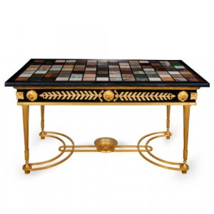 Gilt and patinated bronze coffee table with specimen marble top