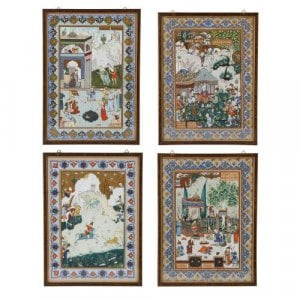 Four 19th Century Qajar period Persian miniature paintings