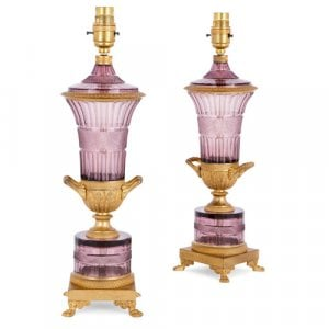 Pair of Louis XVI style ormolu and amethyst crystal lamps