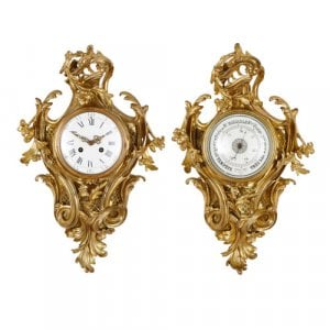 Antique ormolu cartel clock and barometer by Charpentier