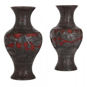 Pair of Qing dynasty two-tone red and black lacquer vases