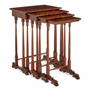 Set of four William IV period rosewood nesting side tables